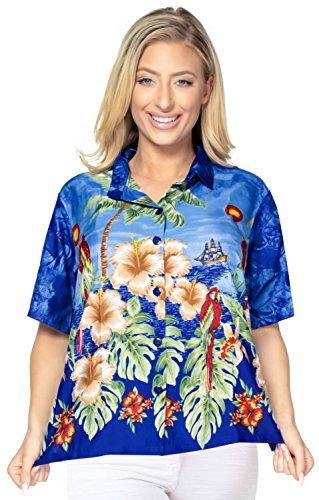 La Leela weich likre karibisch Bluse der beiläufigen Frauen Hawaiihemd blau Blau