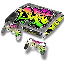 Graffiti 10050, Autocollant Skin Peau Vinyl avec Motifs Colorés et Effet de Cuir pour PlayStation 3 Slim
