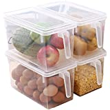 Ab Sales Plastic Storage Containers Square Handle Food Storage Organizer Boxes With Lids ,(Set Of 4 Pack, Large Organizer Bins)