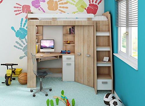 Etagenbett Eiche Sonoma : Etagenbett jugendzimmer set mit leiter rechts eiche sonoma