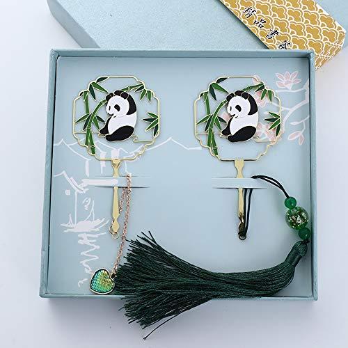 Kevin Bin Segnalibro,Panda E bambù Giganti Placcato Oro con Nappine E Pendenti Rendi La Lettura più Interessante Grande Regalo