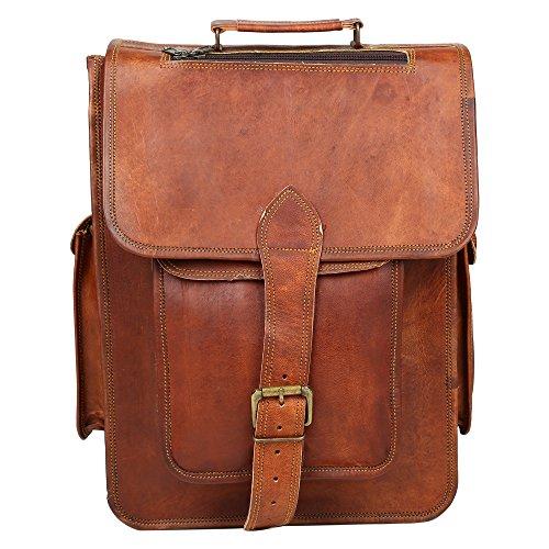 Desert Town Schultergurt Rustikal Look braun aus echtem Leder Laptop Rucksack (Sling-rucksack Echtes Leder Hobo)