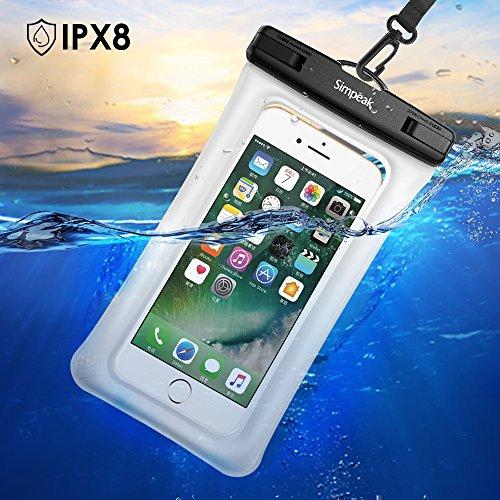 (IPX8 Certificato ) Custodia Impermeabile Subacquea (30 metri sottacqua) Universale per Smartphone 5.8 Massimo ,Simpeak Borsa Waterproof Cover Case Impermeabile per iPhone 7/ 7 Plus/ SE / 6s / 6s Pl Bianco