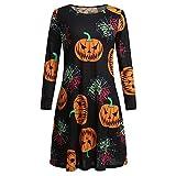 Cinnamou Vestidos Mujer Halloween, Ropa de Disfraz Pumpkin & Web Estampado Vestido Mujer Invierno Traje Mujer Elegante Fiesta de Noche Skate Vestidos