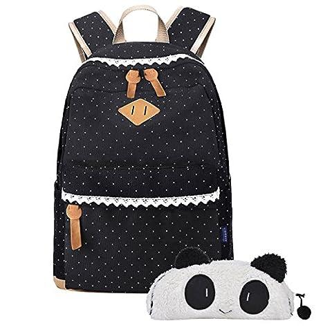 Coofit Fashion Schultasche Outdoor Freizeit Daypacks Mädchen Schulrucksack Damen Canvas Rucksack Schwarz (13'' x 5.5'' x 16.5'') (schwarz) (Black with panda)