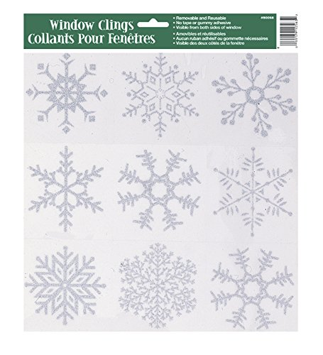 Silver Glitter Snowflakes Window Clings