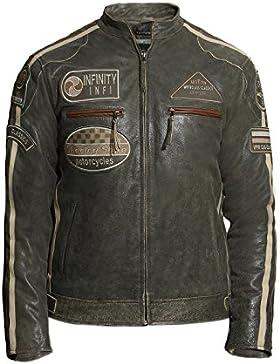 Brandslock para hombre Chaqueta para motociclista de cuero