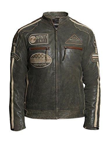*Brandslock Herren Motorrad Leder Biker Jacke (L, Hellbraun)*