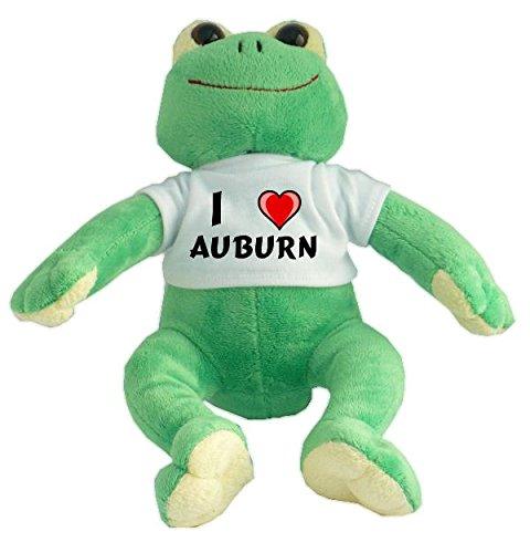 Plüsch Frosch mit T-shirt mit Aufschrift Ich liebe Auburn (Vorname/Zuname/Spitzname) -
