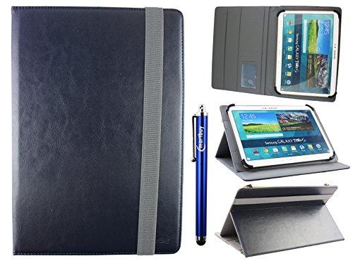Emartbuy® Universal 10-11 Zoll Midnight Blau Multi Angle Folio Brieftasche Case Cover Mit Card Slots Grau Elastische Strap Und Stylus Stift Geeignet Für Ausgewählte Geräte Aufgeführt Unten