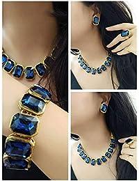 Catalyst Gold Plated Stylish Blue Stones Studded Necklace Set,Bracelet,Finger Ring Combo Set For Women & Girls