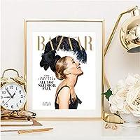 zxkx Magazine Couverture Affiche Mur Image Toile Art Peinture Couverture De Vogue Citations De Mode Prints Décoration 40x50cm
