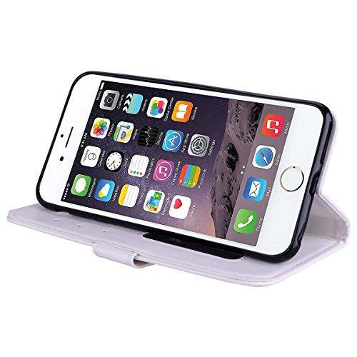 Cover iPhone 7 8 Pelle Unicorno, Unicorno Portachiavi Peluche, E-Unicorn Cover Custodia Apple iPhone 7 8 Pelle Unicorno Modello Brillantini Glitter Portafoglio Oro Rosa PU + TPU Silicone Morbido Bumpe Bianco