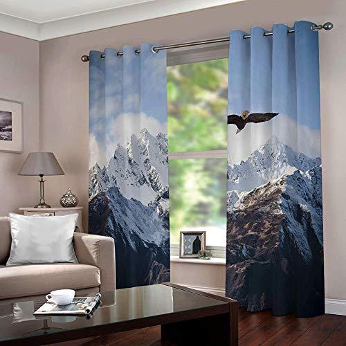 Zfszsd tenda oscurante oscurante bambinimontagna di neve termiche isolanti tende stampate per camera da letto blu acciaio due pannelli dimensioni:l280cmxa245cm