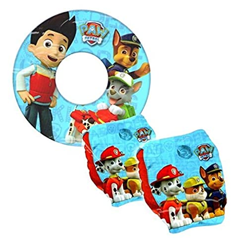 Paw Patrol Boys Blue Inflatable Armbands & Swim Ring Kids Beach Swimming Pool Set