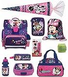 Minnie Mouse Schulranzen-Set 13-tlg. Schultüte 85cm, Sporttasche, Federmappe gefüllt und Regenschut,z rosa blau lila Maus
