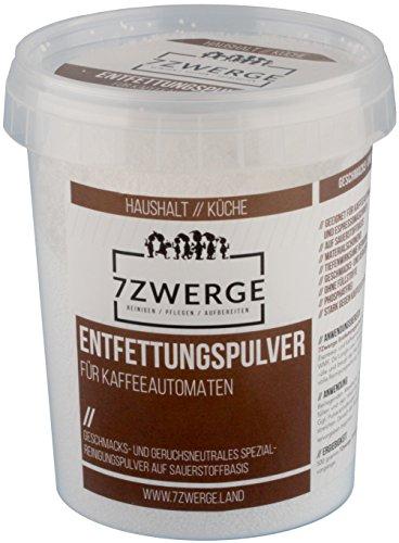 7Zwerge I 1 x 500 g Entfettungspulver I Reinigungspulver für Kaffeevollautomaten I Kaffee-Maschinen I Kaffeepadmaschine I Espresso-Maschine I Kaffee-Fettlöser I Kaffee-Reiniger