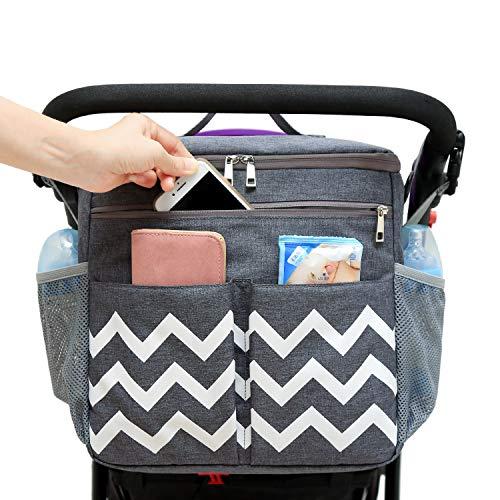 Conleke Kinderwagen Organizer, Universale Kinderwagentasche Buggy Organizer Hänge Tasche mit1 Schulterriemen, Unverzichtbares Kinderwagen-Zubehör(grau,welle)