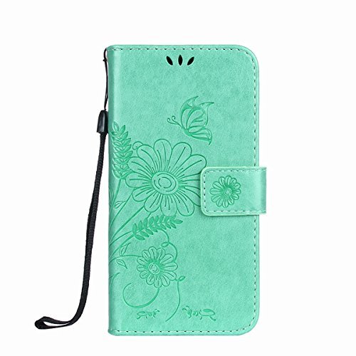 ISAKEN Kompatibel mit iPhone 4S Hülle, PU Leder Flip Cover Brieftasche Geldbörse Wallet Case Handyhülle Tasche Schutzhülle mit Handschlaufe Strap für iPhone 4 4S - Sonnenblume Schmetterling Grün