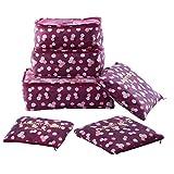 Shopper Joy Koffer Organizer Taschen Set Reise Kleidertaschen 6 Teilig   3 Packing Cubes + 3 Laundry Pouch für Schuhe Unterwäsche Kosmetik auf Urlaub Camping Aufenthalt - Weinrot