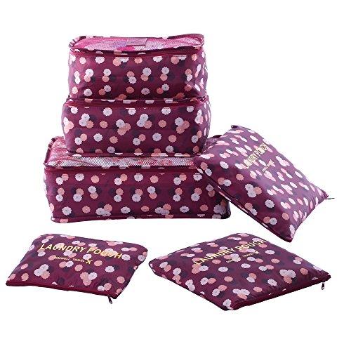 Shopper Joy Koffer Organizer Taschen Set Reise Kleidertaschen 6 Teilig | 3 Packing Cubes + 3 Laundry Pouch für Schuhe Unterwäsche Kosmetik auf Urlaub Camping Aufenthalt - Weinrot