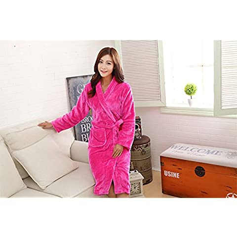 XNWP-Bata de franela señoras batas largas plus size pijamas, ropa de cama y loungewear,Rosa
