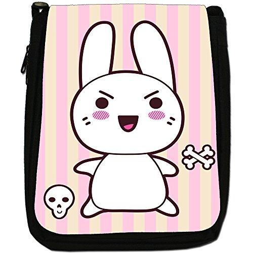 Funny & Cute Kawaii rosa conigli Medium Nero Borsa In Tela, taglia M Wicked Kawaii Rabbit