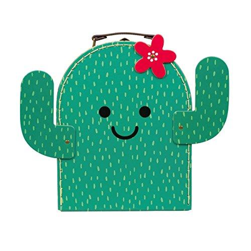 Koffer Kaktus Pappe grün 26x20x9cm