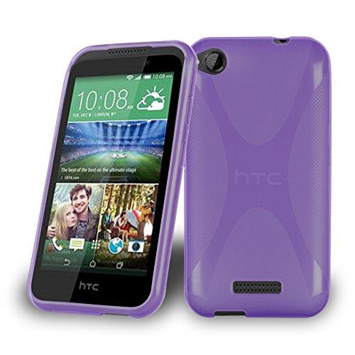 Cadorabo Hülle für HTC Desire 320 Hülle in Handyhülle aus flexiblem TPU Silikon im X-Line Design Silikonhülle Schutzhülle Soft Back Cover Case Bumper Flieder Violett