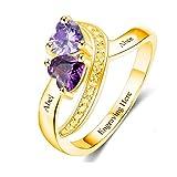 TWinkle Anelli Donna Argento Anello di Fidanzamento Personalizzato Promise Ring with 2 Heart Birthstones for Her(d'oro-19.5)