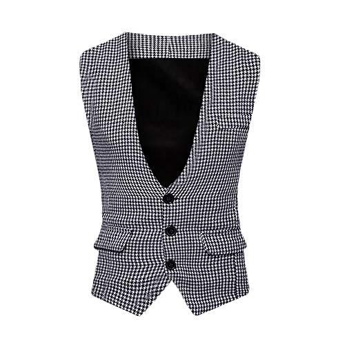 Zolimx Herren Anzug Weste Mantel, Männer Mens Autumn Winter Formale Houndstooth Tuxedo Waistcoat Vest Jacket Top Coat - Möbel Tuxedo