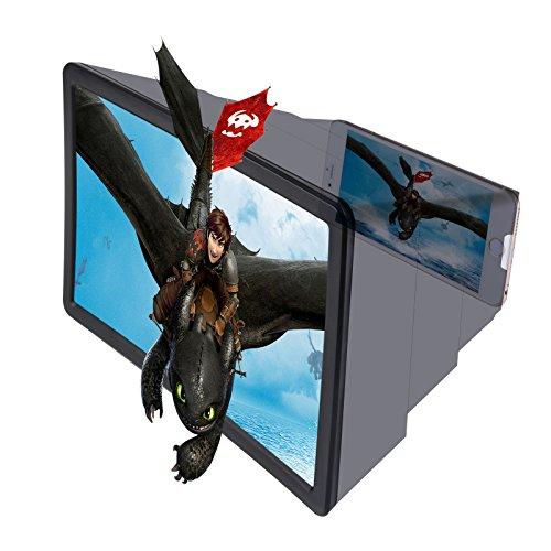 ThreeCat 3D ergrößerte Bildschirm Lupe Halter, Lazy Artefakt, Mobile Video-Lupe, Handy-, High-Definition Verstärker für alle Arten von Smartphones (White) Mobile Video-bildschirm