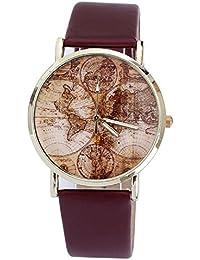 Malloom® mujeres damas moda Mapa Mundial cuero de la PU banda cuarzo analógico Relojes de pulsera(marrón)