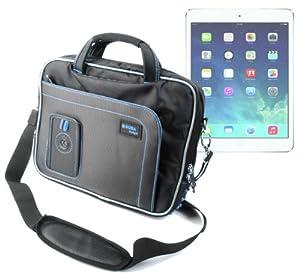 """Découvrez cette housse de transport DURAGADGET en nylon léger et résistant en noir et bleu pour transporter et protéger votre tablette tactile Apple iPad Air 9,7"""" (5ème génération sortie 2013). Elle possède de nombreuses poches à l'extérieur (avant e..."""