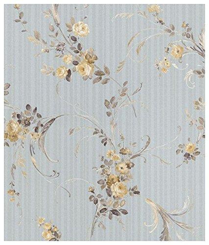 Zambaiti parati - Carta da parati floreale con fondo striato azzurro e fiorellini in raso oro e grigio con glitter dorati Z4161 Satin flowers