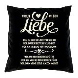 Warum ich Dich liebe :: Kissen inkl. Füllung :: Romantische Geschenkidee für Verliebte Geschenk für Frauen & Männer Liebe Liebesbeweis Liebeskissen Farbe: schwarz