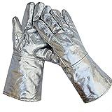 Guanti di saldatura termoresistenti estremi del di alluminio Guanti industriali del saldatore del BBQ da 300 gradi ad alta temperatura, per il forno a microonde di fabbricazione del vetro d'acciaio