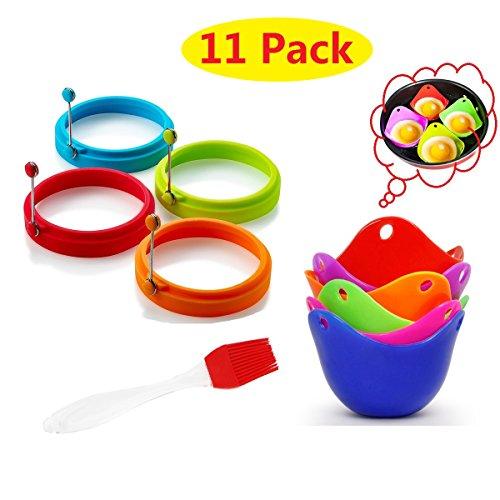 Bracconiere per uova, anello per uova, spazzola per olio (11 pezzi) - Anello per uova in silicone Stampi per frittelle Set antiaderente, stoviglie per microonde Braciere per frullatore, Cuoci uova in silicone, Bollitore per uova in camicia, Antiaderente, Senza BPA