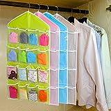#10: 16 Pockets Clear Hanging Bag for Socks Bra Underwear Cupboard Rack Hanger Storage Organiser