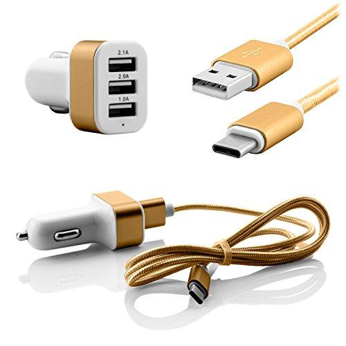 USB 3.1 Typ C Auto Ladekabel 2.1A 2.0A 1.0A 3fach USB Ladeadapter 12V Kfz Ladegerät quick charge für Zigarettenanzünder - Nylonkabel für Handys Smartphones Tablets mit USB Typ-C Anschluss in Gold