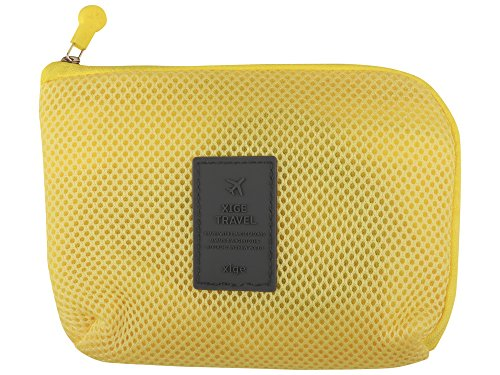 Okayji Travel Bag pouch for Electronic Mobile Wires Cable Accessories Passport elegant Mesh Design (Yellow)