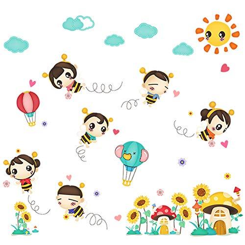 (ALXCHD Baby Kinderzimmer Baby Schlafzimmer Dekorationen Biene Wandaufkleber Niedlichen Kindergarten Klassenzimmer Selbstklebende Aufkleber)