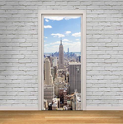 Jushuyin Nachahmung 3D New York Manhattan Tür Aufkleber Holz Aufkleber Selbstklebende Dekoration Wasserdichte Tür Aufkleber Wandbilder Tapete