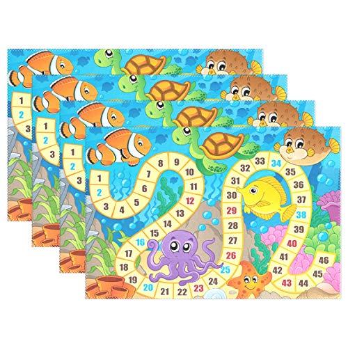 Ocean Sea Marine Life Board Game 30,5 x 45,7 cm 1 Stück, Rutschfest, hitzebeständig für Esstisch, Polyester-Mischgewebe, Image 698, 12x18x4 in ()