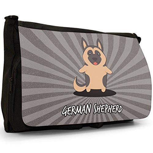 Tedesco Cartoon cani grande borsa a tracolla Messenger Tela Nera, scuola/Borsa Per Laptop German Shepherd, Alsatian