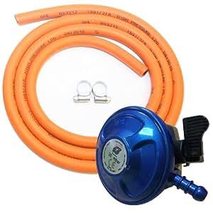 Kit complet de barbecue pour butane 21mm à clipser pour tuyau de gaz Régulateur Clips Poêle Chauffage