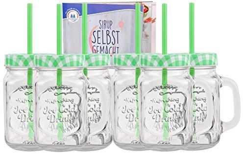 MamboCat 6er Set Glasbecher mit Deckel und Trinkhalm inkl. Rezeptheft - Grün Kariert - 0,5 Liter Trinkbecher/Trinkglas mit Relief - für Säfte, Smoothies und Andere Erfrischungsgetränke -