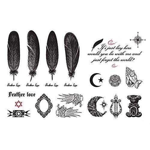 GHHCG Wings Body Art Tattoo Aufkleber Englisches Alphabet Mond Muster wasserdichte Tattoo Haut Tags 14,5 * 9,5 cm