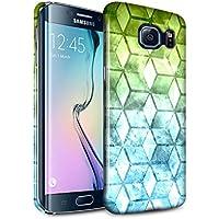 STUFF4 Lucidare Duro Snap On Custodia/Cover/Caso/Cassa del Telefono per Samsung Galaxy S6 Edge / Verde/blu / Colore cubo disegno