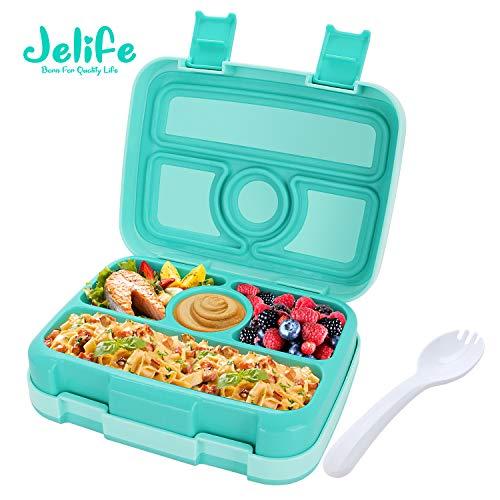 Jelife Brotdose Kinder Bento Box Lunchbox mit 4 Unterteilungen auslaufsicher Lunchbox Kinder für Schule Arbeit Picknick Reisen Unterwegs